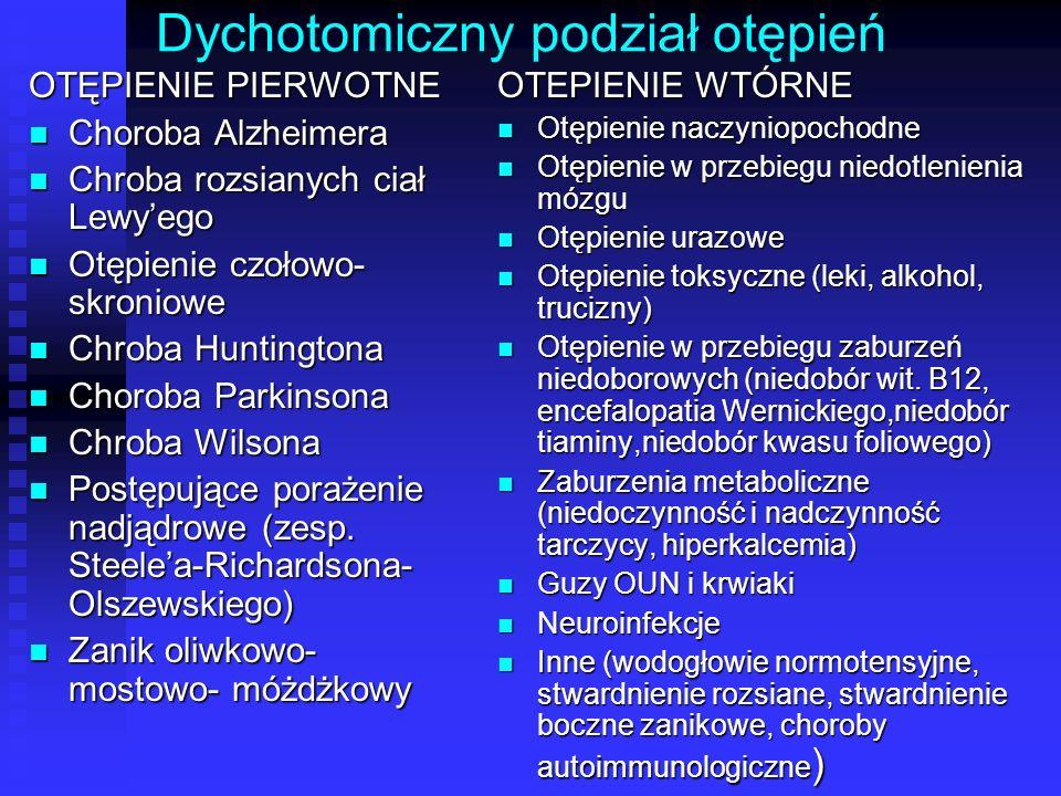 Dychotomiczny podział otępień OTĘPIENIE PIERWOTNE Choroba Alzheimera Choroba Alzheimera Chroba rozsianych ciał Lewy'ego Chroba rozsianych ciał Lewy'eg