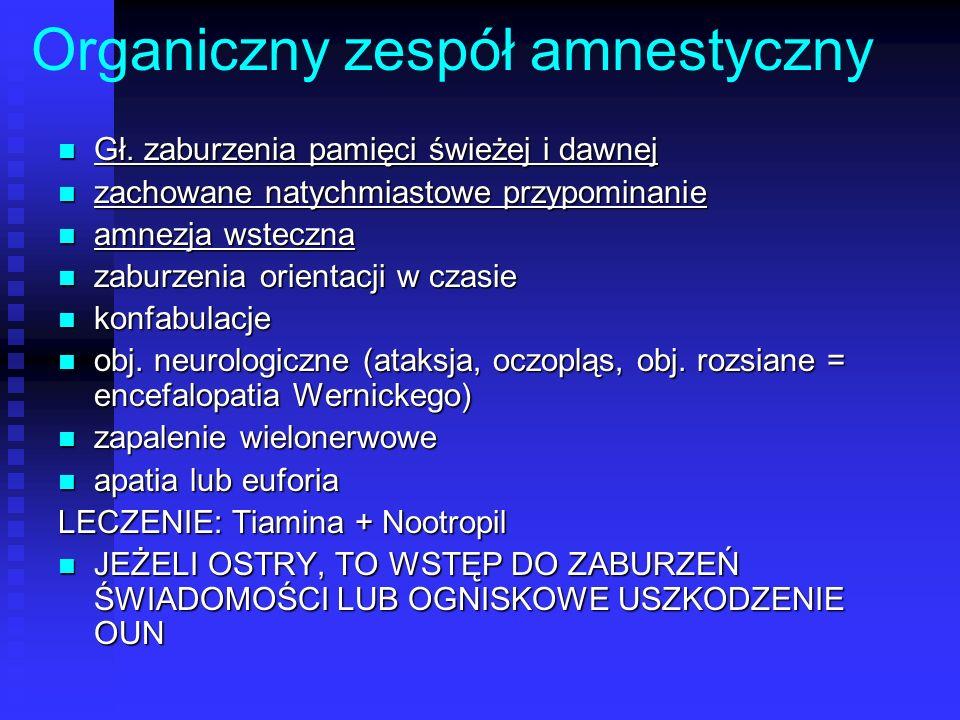 Organiczny zespół amnestyczny Gł. zaburzenia pamięci świeżej i dawnej Gł. zaburzenia pamięci świeżej i dawnej zachowane natychmiastowe przypominanie z