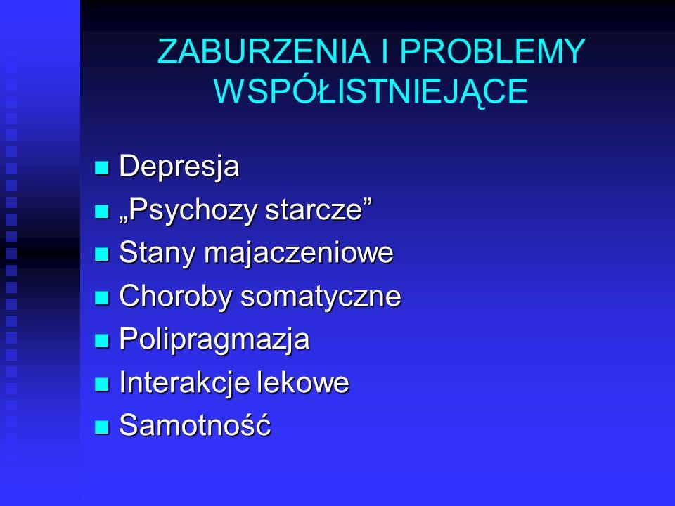 """ZABURZENIA I PROBLEMY WSPÓŁISTNIEJĄCE Depresja Depresja """"Psychozy starcze"""" """"Psychozy starcze"""" Stany majaczeniowe Stany majaczeniowe Choroby somatyczne"""