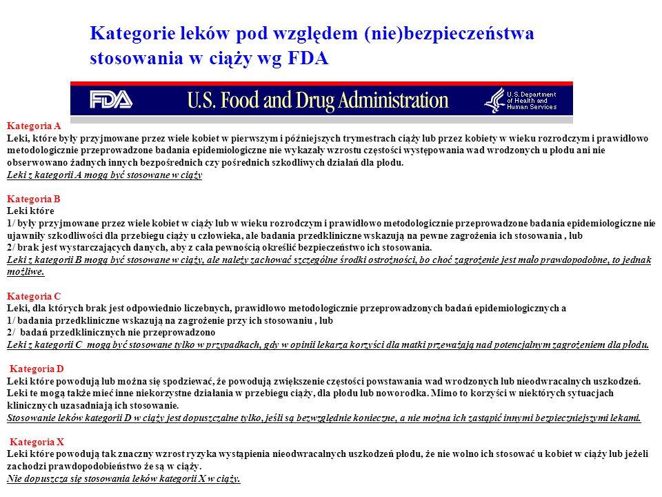 Kategorie leków pod względem (nie)bezpieczeństwa stosowania w ciąży wg FDA Kategoria A Leki, które były przyjmowane przez wiele kobiet w pierwszym i p