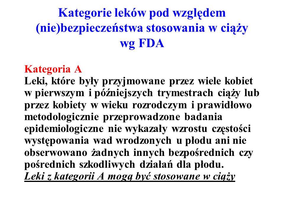 Kategorie leków pod względem (nie)bezpieczeństwa stosowania w ciąży wg FDA Kategoria A Leki, które były przyjmowane przez wiele kobiet w pierwszym i późniejszych trymestrach ciąży lub przez kobiety w wieku rozrodczym i prawidłowo metodologicznie przeprowadzone badania epidemiologiczne nie wykazały wzrostu częstości występowania wad wrodzonych u płodu ani nie obserwowano żadnych innych bezpośrednich czy pośrednich szkodliwych działań dla płodu.
