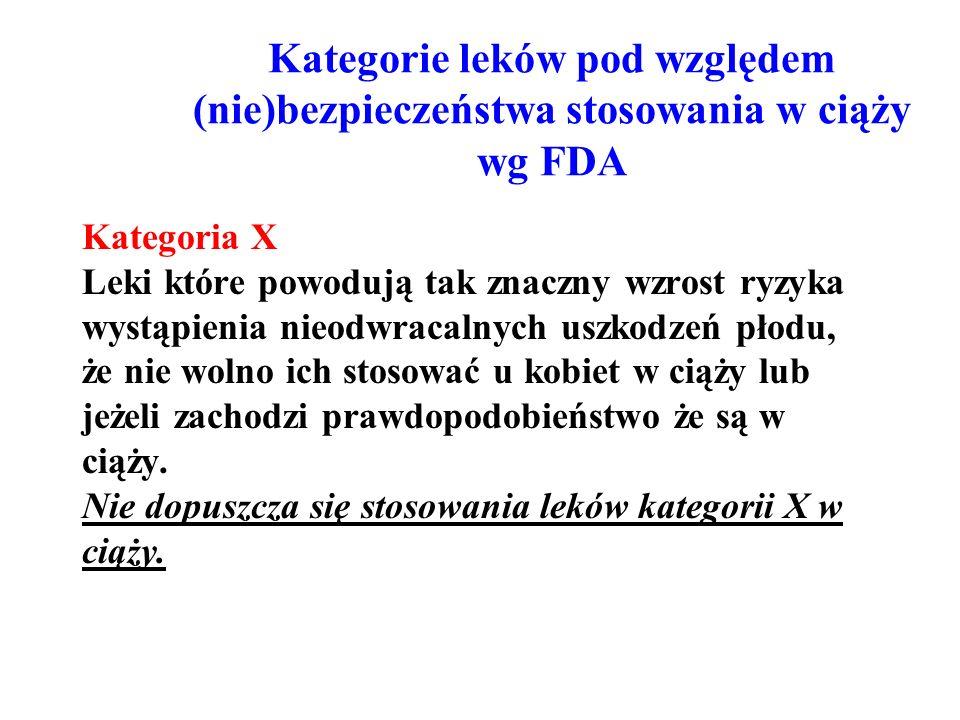 Kategorie leków pod względem (nie)bezpieczeństwa stosowania w ciąży wg FDA Kategoria X Leki które powodują tak znaczny wzrost ryzyka wystąpienia nieod