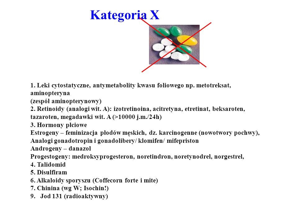 1. Leki cytostatyczne, antymetabolity kwasu foliowego np. metotreksat, aminopteryna (zespół aminopterynowy) 2. Retinoidy (analogi wit. A): izotretinoi