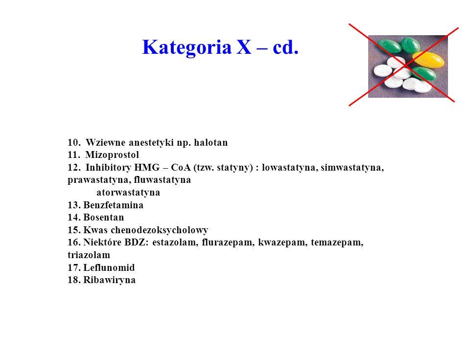 10. Wziewne anestetyki np. halotan 11. Mizoprostol 12. Inhibitory HMG – CoA (tzw. statyny) : lowastatyna, simwastatyna, prawastatyna, fluwastatyna ato