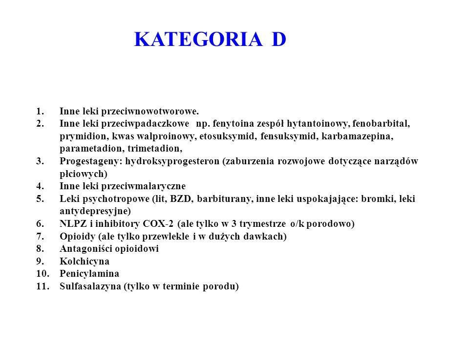 KATEGORIA D 1.Inne leki przeciwnowotworowe. 2.Inne leki przeciwpadaczkowe np. fenytoina zespół hytantoinowy, fenobarbital, prymidion, kwas walproinowy