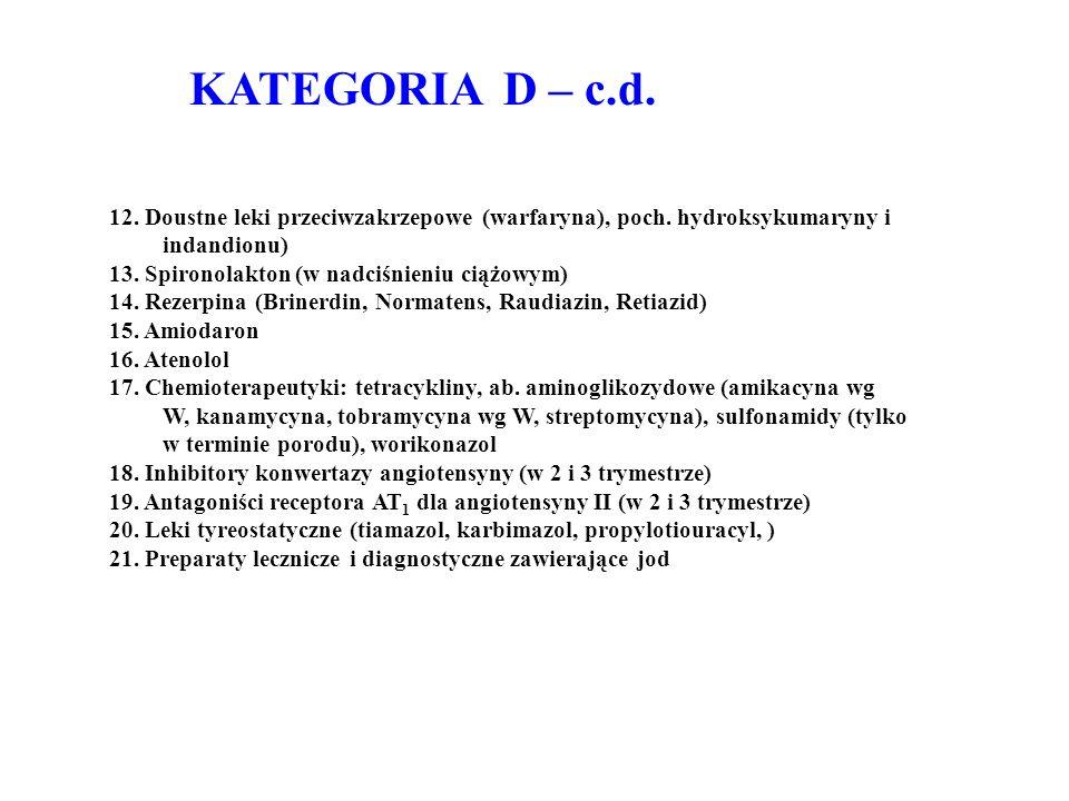 KATEGORIA D – c.d. 12. Doustne leki przeciwzakrzepowe (warfaryna), poch. hydroksykumaryny i indandionu) 13. Spironolakton (w nadciśnieniu ciążowym) 14