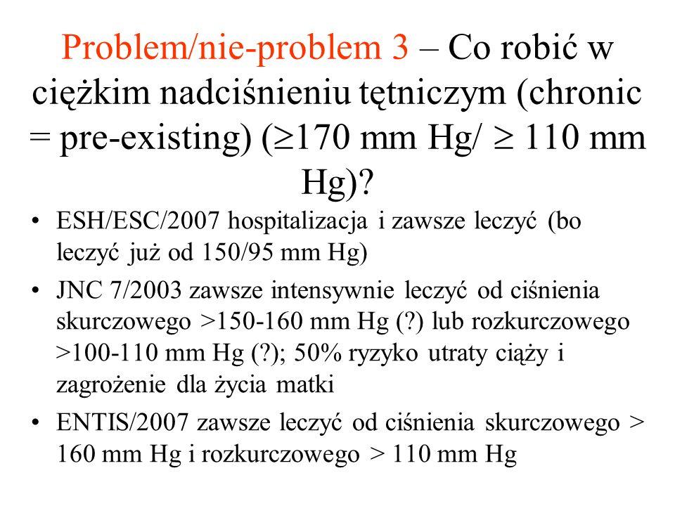 Problem/nie-problem 3 – Co robić w ciężkim nadciśnieniu tętniczym (chronic = pre-existing) (  170 mm Hg/  110 mm Hg)? ESH/ESC/2007 hospitalizacja i