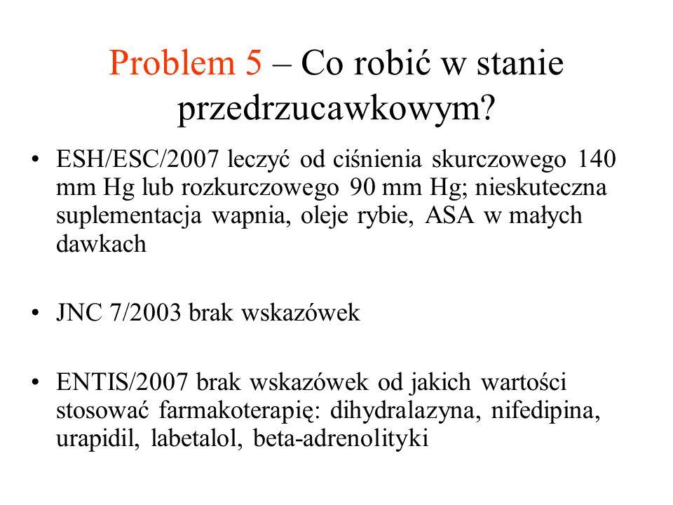 Problem 5 – Co robić w stanie przedrzucawkowym? ESH/ESC/2007 leczyć od ciśnienia skurczowego 140 mm Hg lub rozkurczowego 90 mm Hg; nieskuteczna suplem