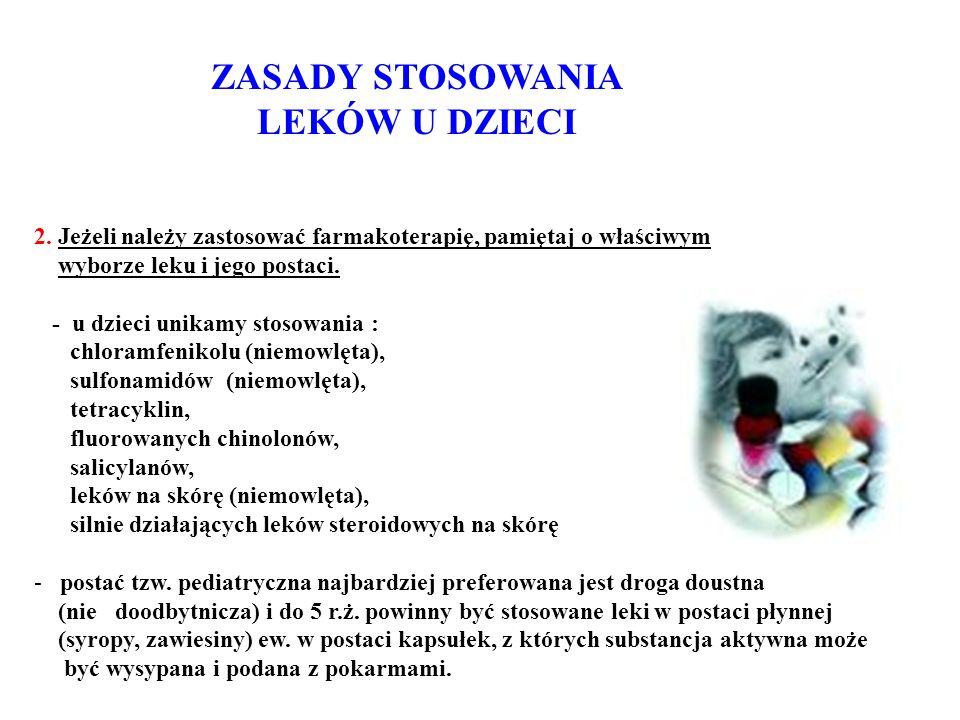 ZASADY STOSOWANIA LEKÓW U DZIECI 2.