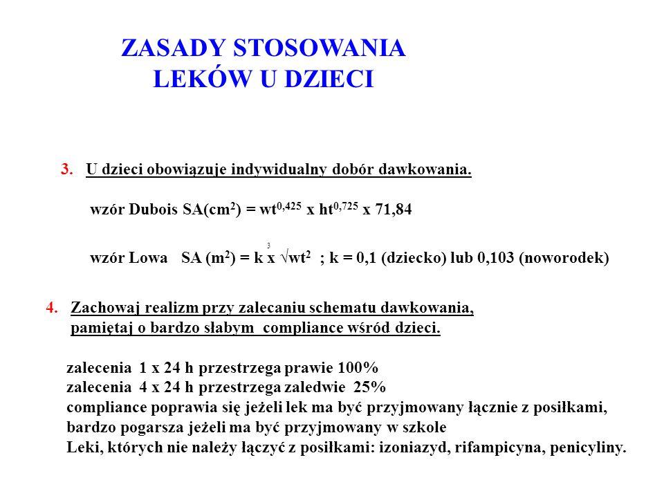 ZASADY STOSOWANIA LEKÓW U DZIECI 3. U dzieci obowiązuje indywidualny dobór dawkowania. wzór Dubois SA(cm 2 ) = wt 0,425 x ht 0,725 x 71,84 wzór Lowa S