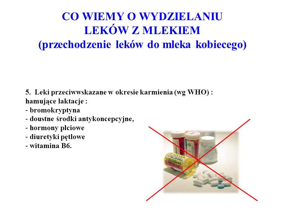 5. Leki przeciwwskazane w okresie karmienia (wg WHO) : hamujące laktacje : - bromokryptyna - doustne środki antykoncepcyjne, - hormony płciowe - diure