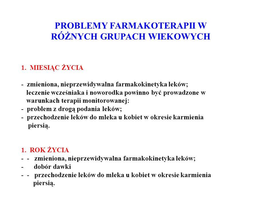PROBLEMY FARMAKOTERAPII W RÓŻNYCH GRUPACH WIEKOWYCH 1.