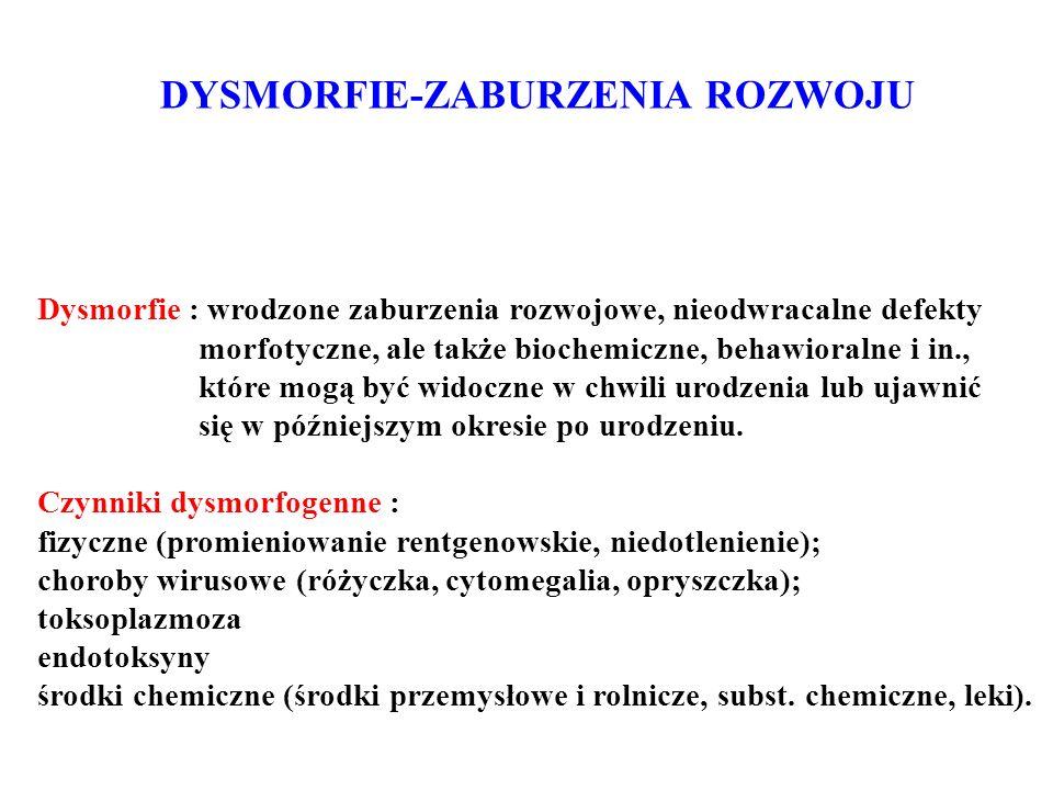 Dysmorfie : wrodzone zaburzenia rozwojowe, nieodwracalne defekty morfotyczne, ale także biochemiczne, behawioralne i in., które mogą być widoczne w ch