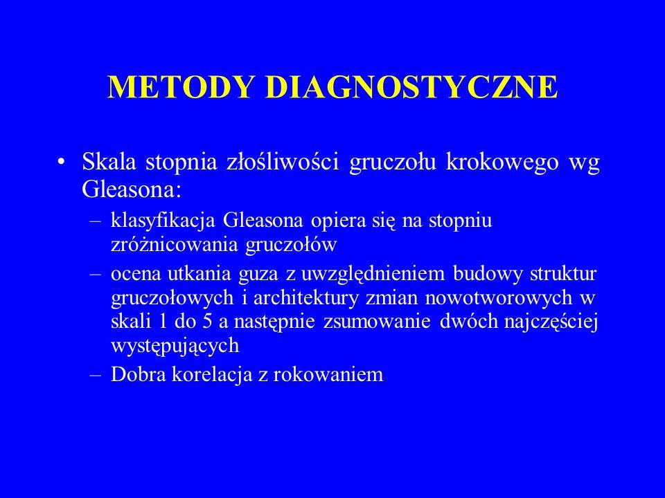 METODY DIAGNOSTYCZNE Jeśli biopsja prostaty pozytywna  staging i ocena zaawansowania raka gruczołu krokowego –CT, MRI j.