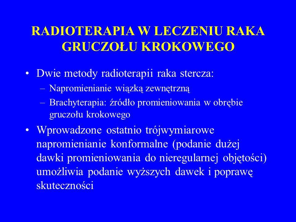RADIOTERAPIA W LECZENIU RAKA GRUCZOŁU KROKOWEGO Powikłania Ostre: ze strony odbytnicy (ból, biegunka) i pęcherza moczowego (częstomocz, bolesne oddawanie moczu) Późne: przewlekłe biegunki, krwawienia z odbytnicy, zapalenia pęcherza moczowego, krwiomocz, zaburzenia erekcji u 40-60% (po leczeniu operacyjnym u 80%)