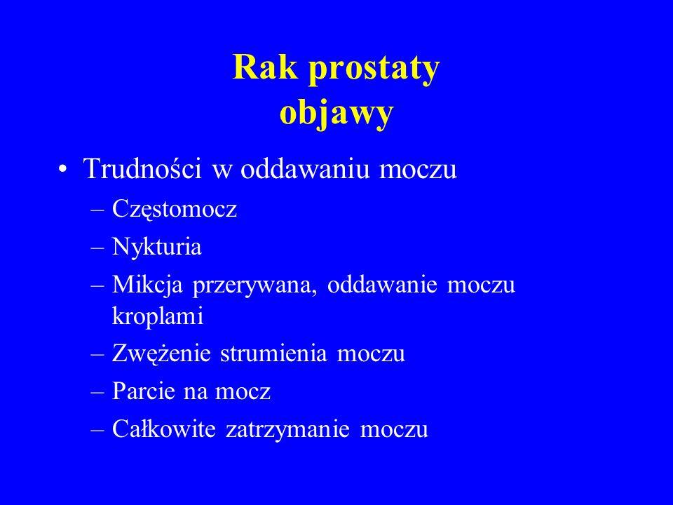 Rak prostaty obraz w fazie naciekania miejscowego i w fazie przerzutów krwiomocz krew w nasieniu ból krocza krew w stolcu, bolesne parcie na podbrzusze obustronna niedrożność moczowodów i niewydolność nerek bóle kostne