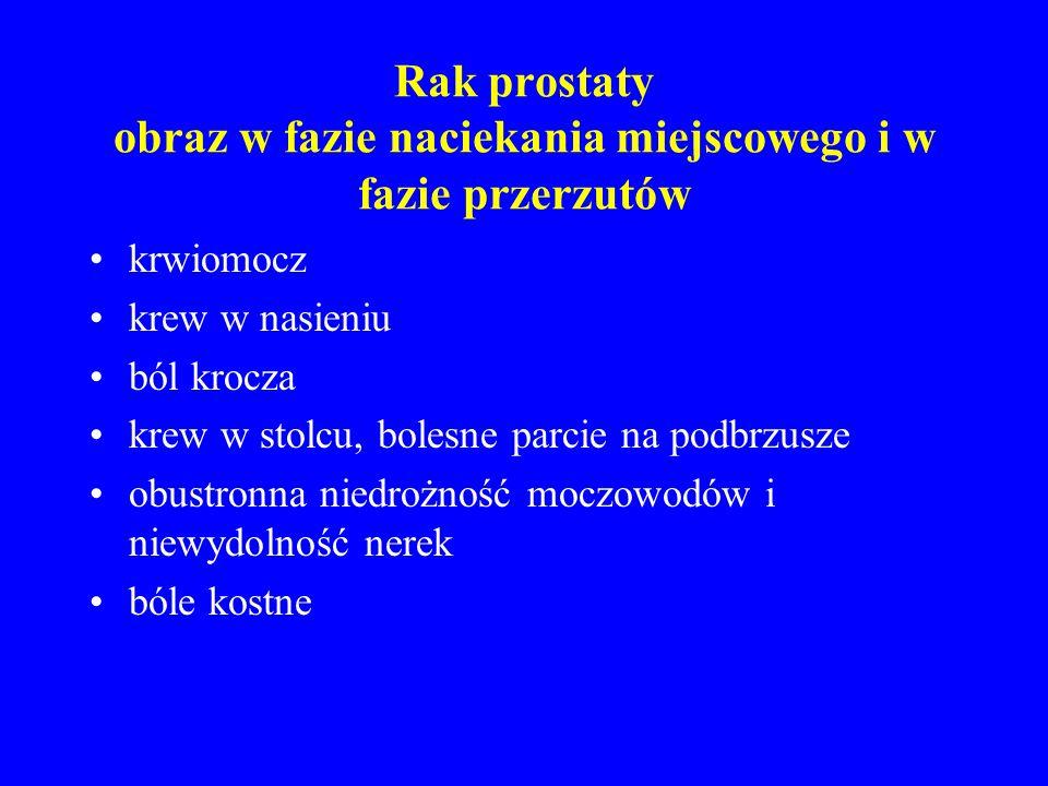Rak prostaty Patologia: –typowo gruczolakorak Przerzuty –węzły chłonne, kości, płuca