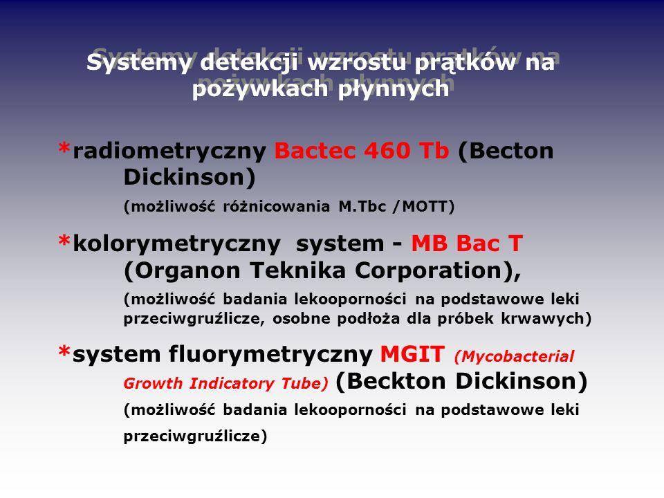 Systemy detekcji wzrostu prątków na pożywkach płynnych *radiometryczny Bactec 460 Tb (Becton Dickinson) (możliwość różnicowania M.Tbc /MOTT) *koloryme