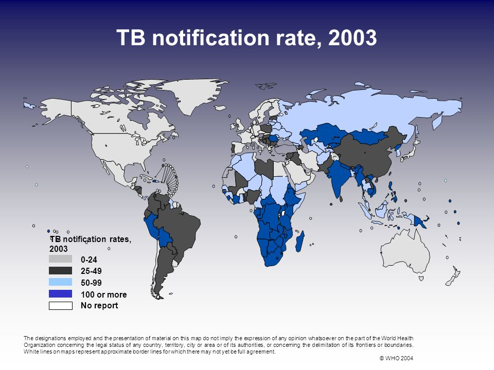 TB notification rate, 2003 0-24 25-49 50-99 100 or more No report TB notification rates, 2003 The designations employed and the presentation of materi