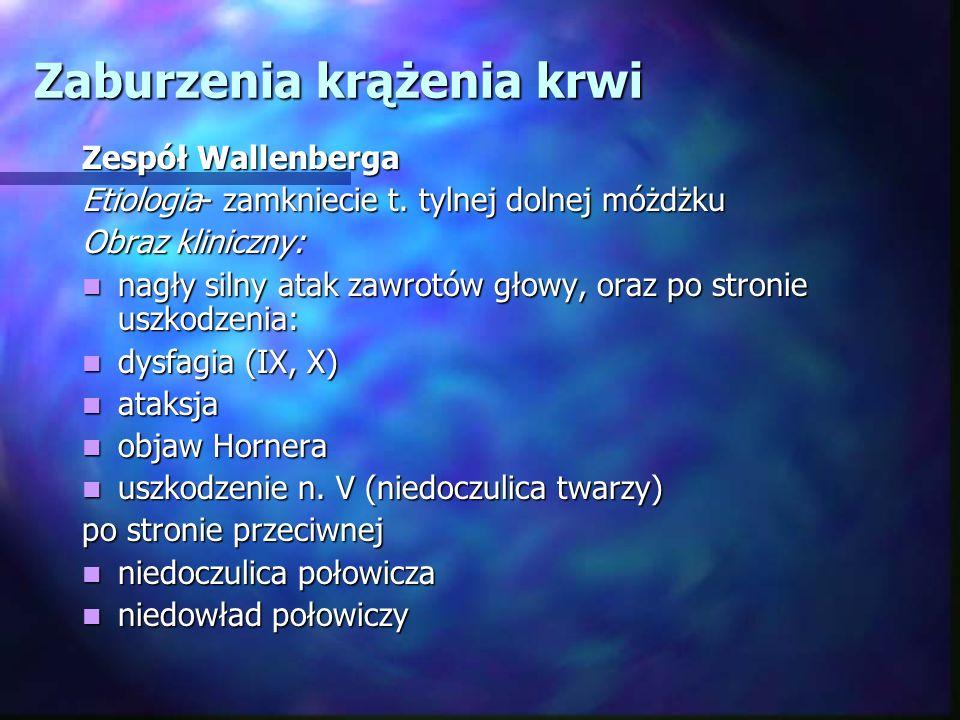 Zaburzenia krążenia krwi Zespół Wallenberga Etiologia- zamkniecie t. tylnej dolnej móżdżku Obraz kliniczny: nagły silny atak zawrotów głowy, oraz po s