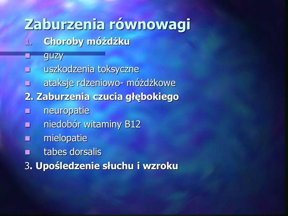 Zaburzenia równowagi 1. Choroby móżdżku guzy guzy uszkodzenia toksyczne uszkodzenia toksyczne ataksje rdzeniowo- móżdżkowe ataksje rdzeniowo- móżdżkow