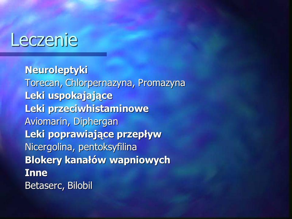 Leczenie Neuroleptyki Torecan, Chlorpernazyna, Promazyna Leki uspokajające Leki przeciwhistaminowe Aviomarin, Diphergan Leki poprawiające przepływ Nic