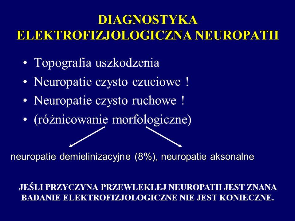 DIAGNOSTYKA ELEKTROFIZJOLOGICZNA NEUROPATII Topografia uszkodzenia Neuropatie czysto czuciowe ! Neuropatie czysto ruchowe ! (różnicowanie morfologiczn