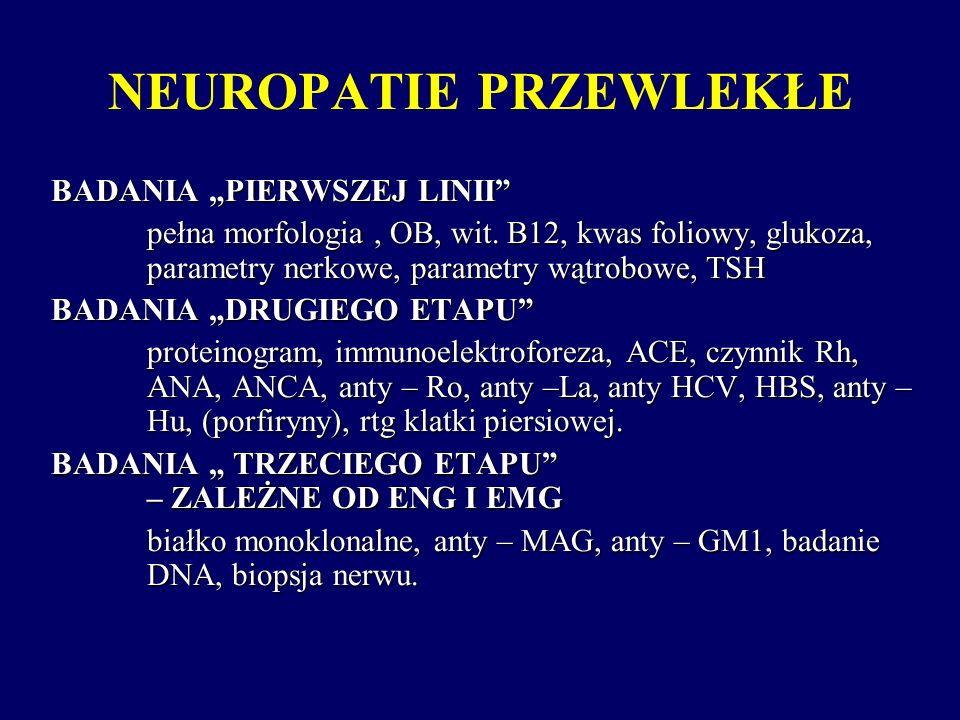 """NEUROPATIE PRZEWLEKŁE BADANIA """"PIERWSZEJ LINII"""" pełna morfologia, OB, wit. B12, kwas foliowy, glukoza, parametry nerkowe, parametry wątrobowe, TSH BAD"""