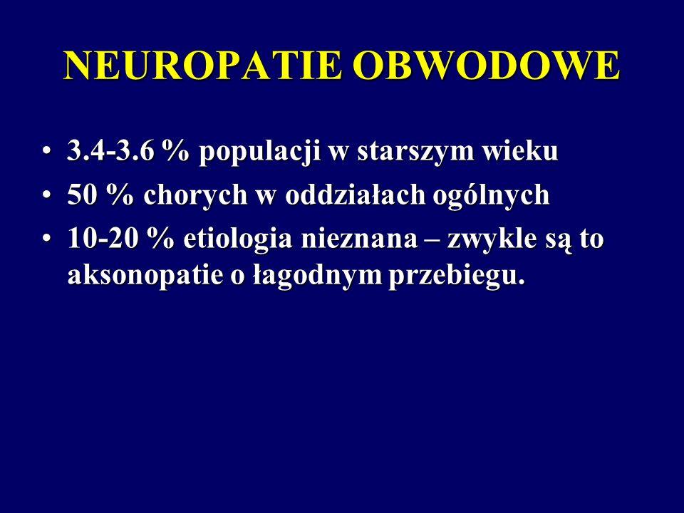 NEUROPATIE AKSONALNE 20 % ETIOLOGIA NIEZNANA PRZEWLEKŁE NEUROPATIE AKSONALNE NABYTEGENETYCZNIE UWARUNKOWANE TOKSYCZNE METABOLICZNE W CHOROBACH UKŁADOWYCH W CHOROBACH UKŁADOWYCH