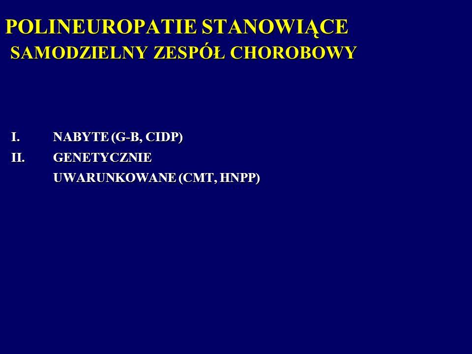 POLINEUROPATIE STANOWIĄCE SAMODZIELNY ZESPÓŁ CHOROBOWY I.NABYTE (G-B, CIDP) II.GENETYCZNIE UWARUNKOWANE (CMT, HNPP)