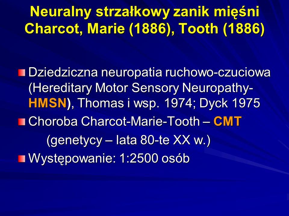 Neuralny strzałkowy zanik mięśni Charcot, Marie (1886), Tooth (1886) Dziedziczna neuropatia ruchowo-czuciowa (Hereditary Motor Sensory Neuropathy- HMS