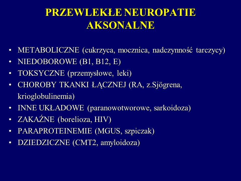 PRZEWLEKŁE NEUROPATIE AKSONALNE METABOLICZNE (cukrzyca, mocznica, nadczynność tarczycy)METABOLICZNE (cukrzyca, mocznica, nadczynność tarczycy) NIEDOBO