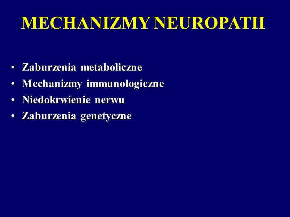 MECHANIZMY NEUROPATII Zaburzenia metaboliczneZaburzenia metaboliczne Mechanizmy immunologiczneMechanizmy immunologiczne Niedokrwienie nerwuNiedokrwien