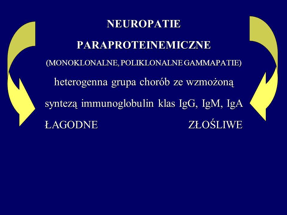 NEUROPATIEPARAPROTEINEMICZNE (MONOKLONALNE, POLIKLONALNE GAMMAPATIE) heterogenna grupa chorób ze wzmożoną syntezą immunoglobulin klas IgG, IgM, IgA ŁA