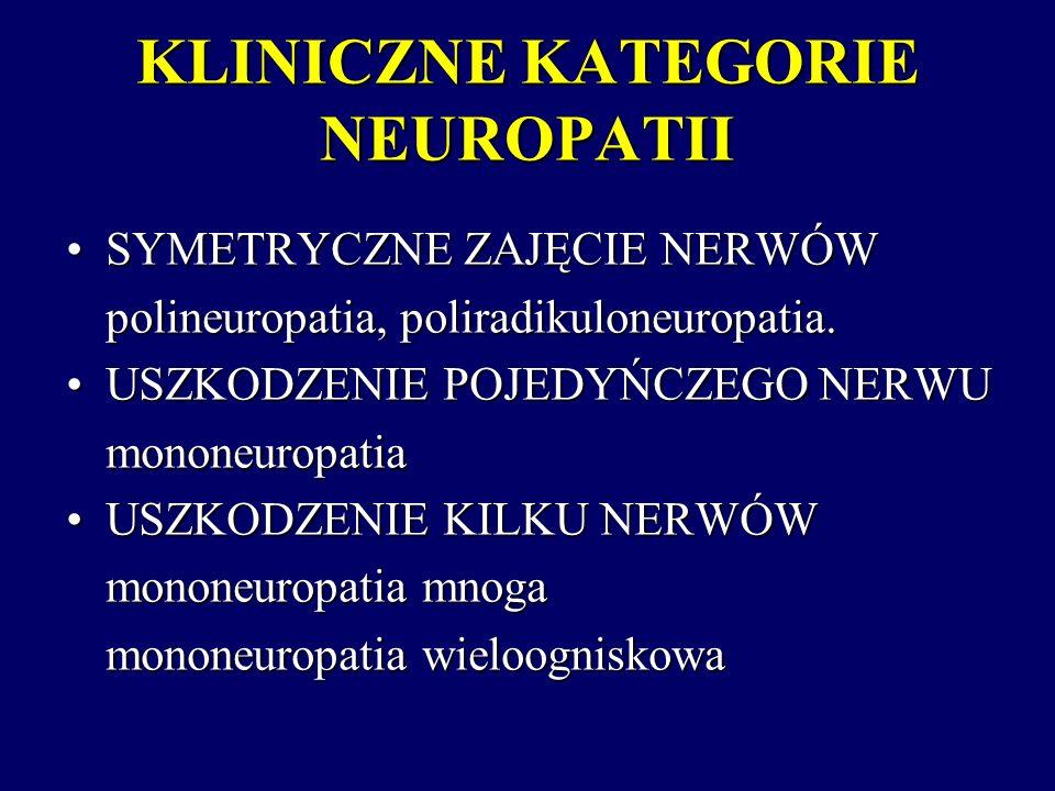PRZYCZYNY MONONEUROPATII MNOGIEJ Cukrzyca Cukrzyca Pierwotne i wtórne układowe vasculitis Pierwotne i wtórne układowe vasculitis Chłoniaki Chłoniaki Borelioza Borelioza Sarkoidoza Sarkoidoza Neuropatia ruchowa z blokiem przewodzenia Neuropatia ruchowa z blokiem przewodzenia Wieloogniskowa neuropatia czuciowo-ruchowa Wieloogniskowa neuropatia czuciowo-ruchowa Krioglobulinemia Krioglobulinemia Dziedziczna neuropatia z ucisku Dziedziczna neuropatia z ucisku Nieukładowe vasculitis w nerwie Nieukładowe vasculitis w nerwie