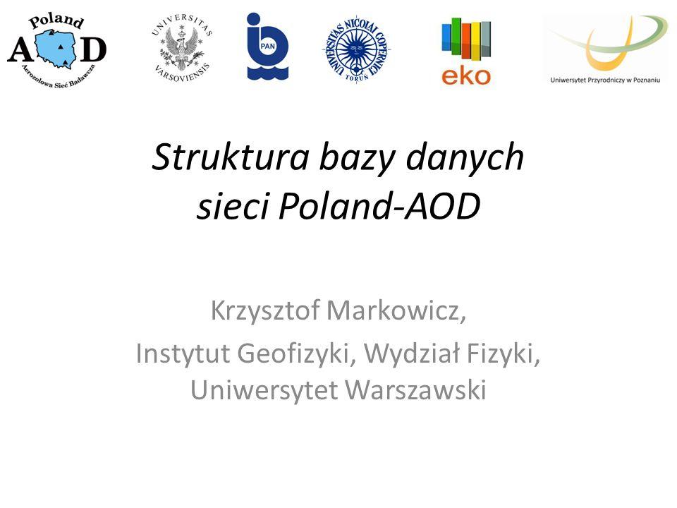 Struktura bazy danych sieci Poland-AOD Krzysztof Markowicz, Instytut Geofizyki, Wydział Fizyki, Uniwersytet Warszawski