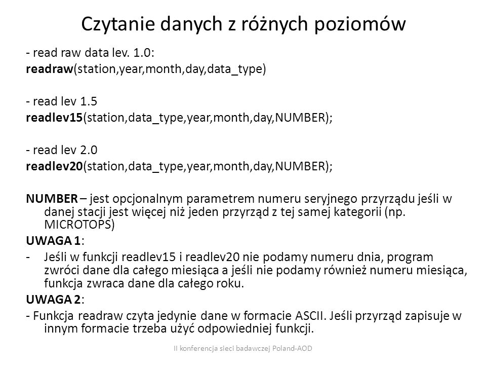 Czytanie danych z różnych poziomów - read raw data lev.