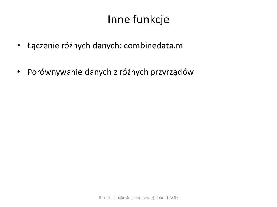 Inne funkcje Łączenie różnych danych: combinedata.m Porównywanie danych z różnych przyrządów II konferencja sieci badawczej Poland-AOD