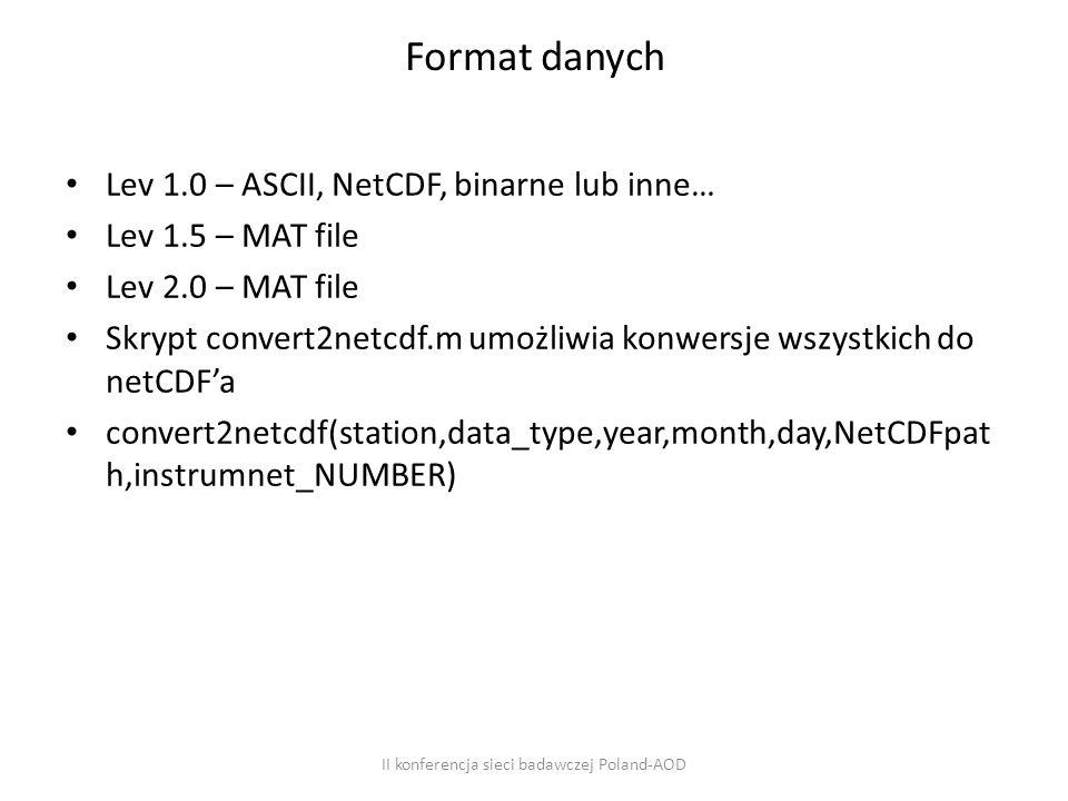 Format danych Lev 1.0 – ASCII, NetCDF, binarne lub inne… Lev 1.5 – MAT file Lev 2.0 – MAT file Skrypt convert2netcdf.m umożliwia konwersje wszystkich do netCDF'a convert2netcdf(station,data_type,year,month,day,NetCDFpat h,instrumnet_NUMBER) II konferencja sieci badawczej Poland-AOD