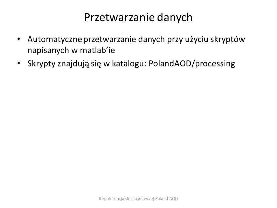 Przetwarzanie danych Automatyczne przetwarzanie danych przy użyciu skryptów napisanych w matlab'ie Skrypty znajdują się w katalogu: PolandAOD/processing II konferencja sieci badawczej Poland-AOD
