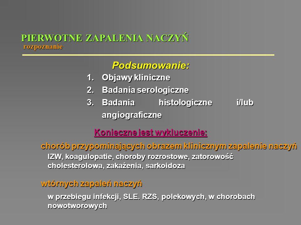 PIERWOTNE ZAPALENIA NACZYŃ rozpoznanie Podsumowanie: 1.Objawy kliniczne 2.Badania serologiczne 3.Badania histologiczne i/lub angiograficzne Konieczne