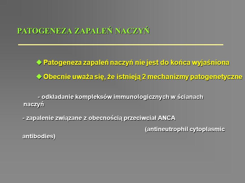 ZAPALENIA MAŁYCH NACZYŃ diagnostyka różnicowa WGMPACSS Zapalenie małych naczyń ANCA (+) ANCA (-) HSPKrioglobulinemia Ziarniniaki zapalne.