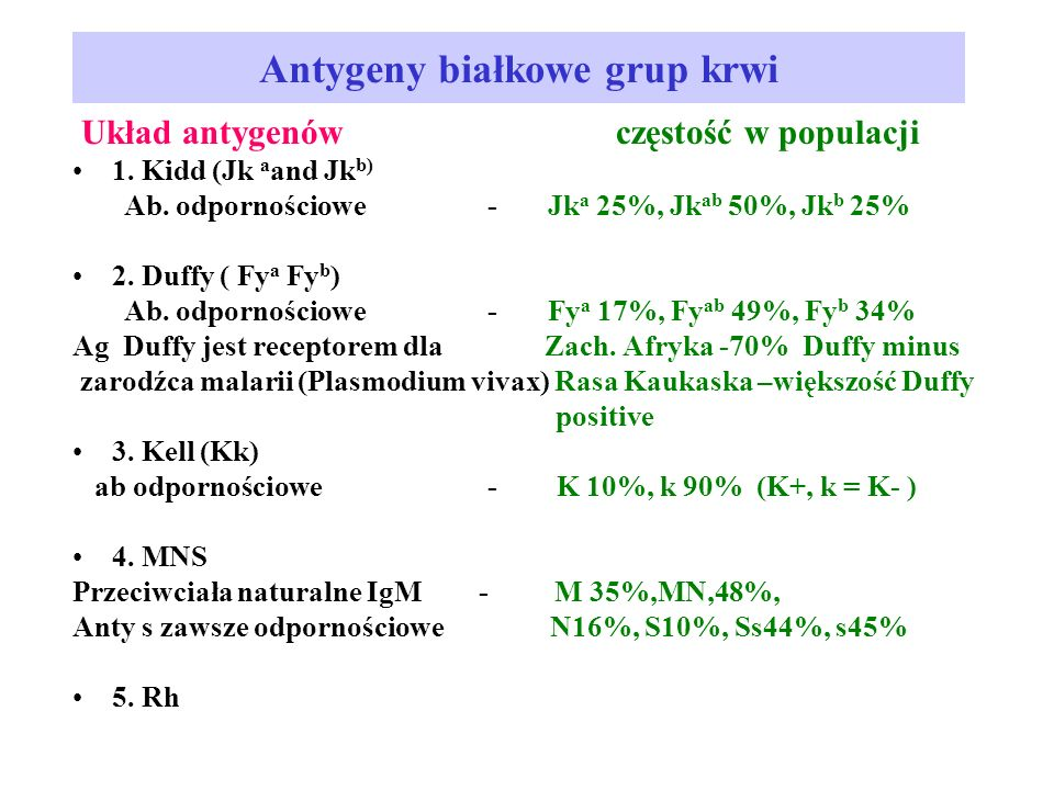 Antygeny białkowe grup krwi Układ antygenów częstość w populacji 1.