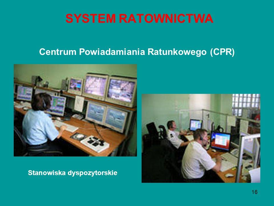 16 Centrum Powiadamiania Ratunkowego (CPR) SYSTEM RATOWNICTWA Stanowiska dyspozytorskie