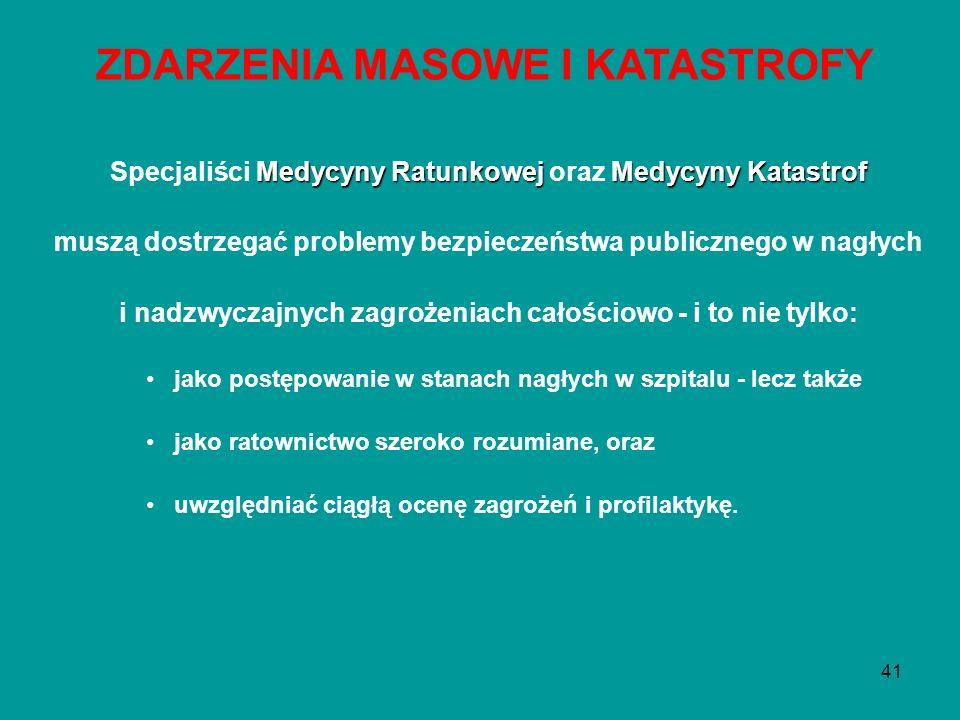 41 Medycyny RatunkowejMedycyny Katastrof Specjaliści Medycyny Ratunkowej oraz Medycyny Katastrof muszą dostrzegać problemy bezpieczeństwa publicznego