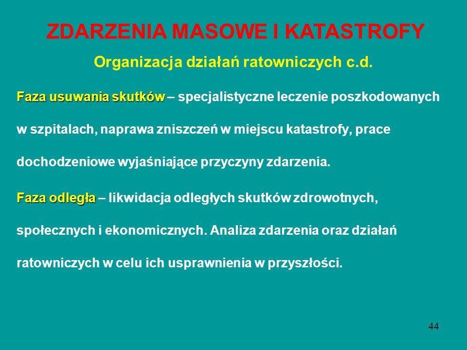44 Organizacja działań ratowniczych c.d. Faza usuwania skutków Faza usuwania skutków – specjalistyczne leczenie poszkodowanych w szpitalach, naprawa z