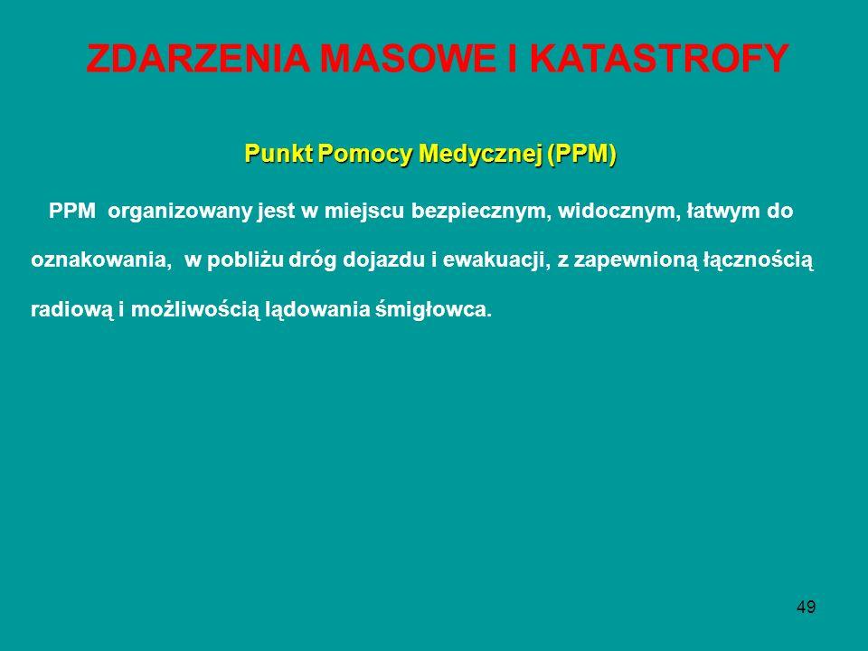 49 Punkt Pomocy Medycznej (PPM) PPM organizowany jest w miejscu bezpiecznym, widocznym, łatwym do oznakowania, w pobliżu dróg dojazdu i ewakuacji, z z
