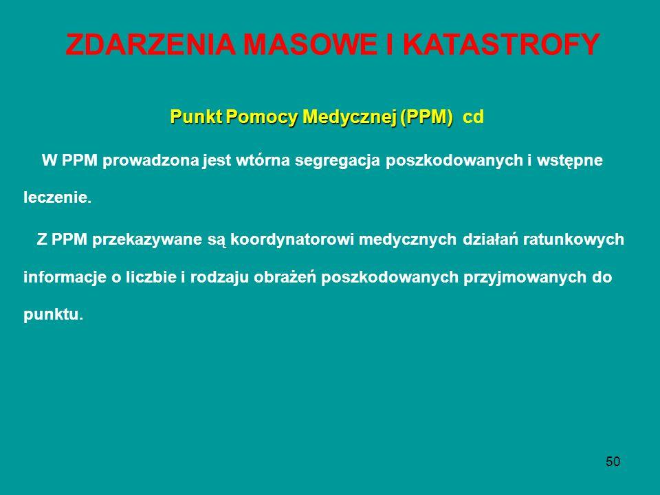 50 Punkt Pomocy Medycznej (PPM) Punkt Pomocy Medycznej (PPM) cd W PPM prowadzona jest wtórna segregacja poszkodowanych i wstępne leczenie. Z PPM przek