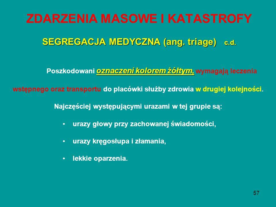 57 ZDARZENIA MASOWE I KATASTROFY oznaczeni kolorem żółtym, Poszkodowani oznaczeni kolorem żółtym, wymagają leczenia wstępnego oraz transportu do placó
