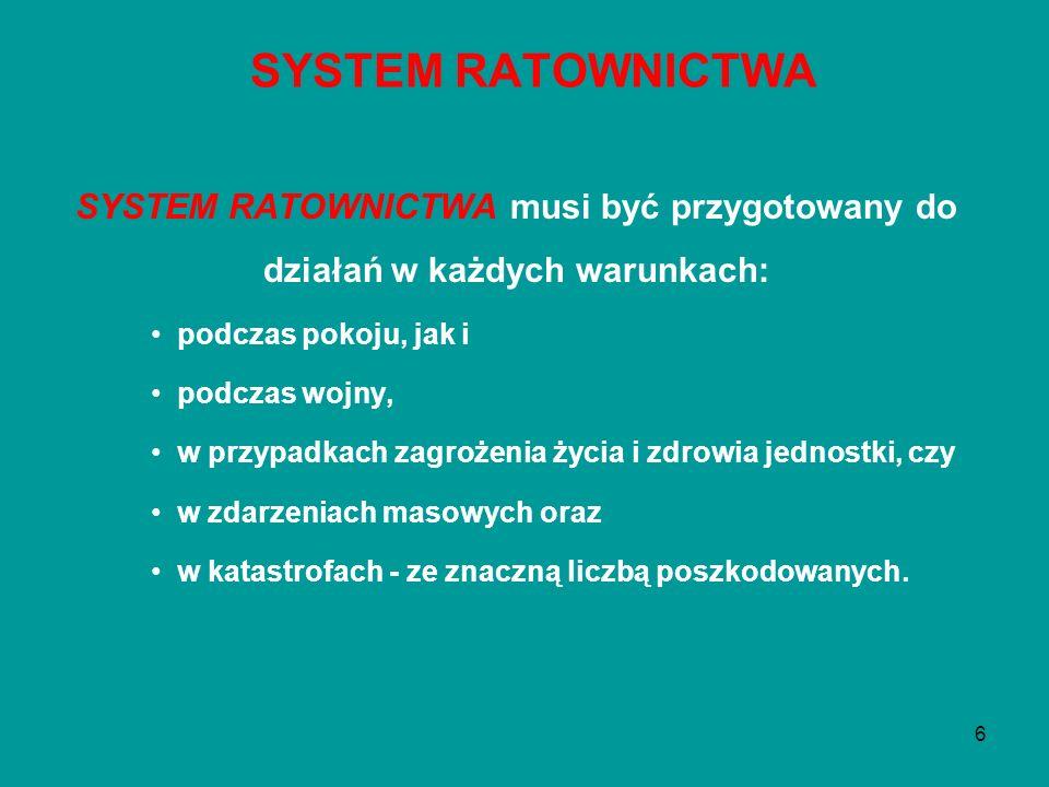 6 SYSTEM RATOWNICTWA musi być przygotowany do działań w każdych warunkach: podczas pokoju, jak i podczas wojny, w przypadkach zagrożenia życia i zdrow